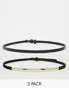 ASOS 2 Pack Plate And Skinny Waist Belt