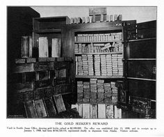 Shelves bending under the massive weight of gold bricks - and old black and white image from the beginning of the century. Gold Bullion Bars, White Image, Vaulting, Bending, Willis Tower, Bricks, Worlds Largest, Cruise, Witch