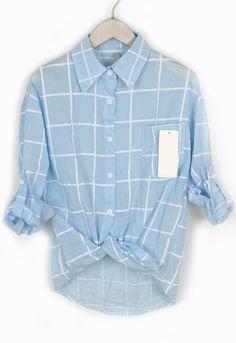 Lapel With Pocket Plaid Blue Blouse 10.17