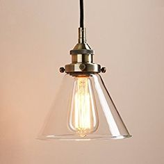 Pathson 7.4 Inch Glass Cone Retro Industrial Hanging Pendant Light Fixture (Bronze): Amazon.co.uk: Kitchen & Home
