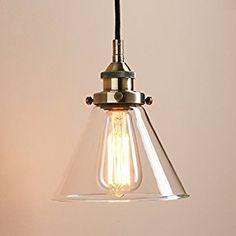 Pathson 7.4 Inch Glass Cone Retro Industrial Hanging Pendant Light Fixture (Bronze): Amazon.co.uk: Kitchen & Home