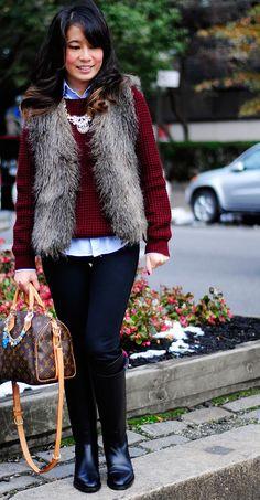 oxblood sweater + fur vest