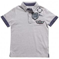 Image for Boys Branded Cotton Grey Blue Polo Shirt Kids Designer Clothes