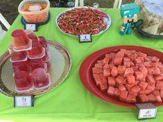 Minecraft snacks for birthday party !!