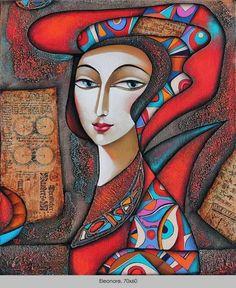 Eleonore, 70 x Wlad Safronow - Pictify - your social art network Art And Illustration, Modern Art, Contemporary Art, Wal Art, Scandinavian Folk Art, Ukrainian Art, Social Art, Arte Pop, Animal Paintings