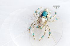 Spider jewelry, Spider brooch, Summer jewelry, Beadwork, Spider pin, Chrysocolla jewelry, Gift for her, Pearl brooch, Spider pin