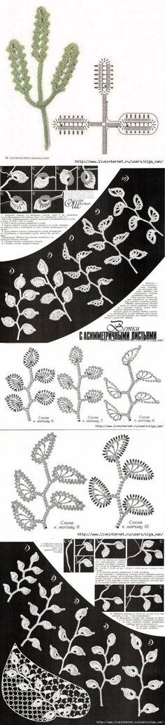 Ещё немного листьев для ирландского кружева и аксессуаров крючком. Часть 1.