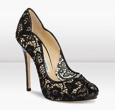 Jimmy Choo Lace Peep Toe Pump If I still could wear high heels I would buy these not matter what they cost! Black Lace Pumps, Black Shoes, White Lace, Black Jeans, Navy Lace, Black Sandals, Crazy Shoes, Me Too Shoes, Mode Glamour