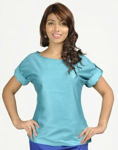 (Apparel and Accessories) Tussar Cotton Boat Neck Rollup Sleeves Top in extra small size