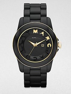 Marc by Marc Jacobs Logo Accented Acetate Date-Function Watch/Black