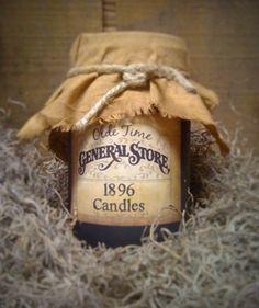 1896 Primitive Jar Candle 16 oz  Hand by DebsCandlesandDreams