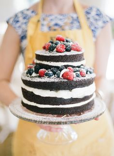 Chocolate naked cake with berries | Photography: Katie Parra Photography - www.katieparra.com  Read More: http://www.stylemepretty.com/2014/05/26/modern-rainier-chapter-house-wedding/