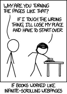 What If Books Worked Like Infinite-Scrolling Webpages by xkcd