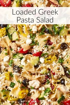 This is not your mama's boring pasta salad! Fresh summer veggies, grilled chicken and loads of flavor! Did I mention the feta? ⎮ Pasta Salad Recipes ⎮ Cold Pasta Salad Recipes ⎮ Summer Pasta Salad Recipes ⎮ Vegetarian Pasta Salad Recipes ⎮ Greek Pasta Salad Recipes ⎮ Healthy Pasta Salad Recipes #freakingdelish #summersalad #pastasalad