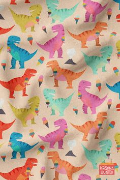 Dinosaur Ice Cream Party fabric and wallpaper by Kristina Hunter available on Spoonflower. Fun, funky, and retro dinosaurs having an ice cream party. Dinosaur Fabric, Cute Dinosaur, Kids Wallpaper, Pattern Wallpaper, Aesthetic Iphone Wallpaper, Aesthetic Wallpapers, Dinosaur Silhouette, Peach Background, Kids Inspire
