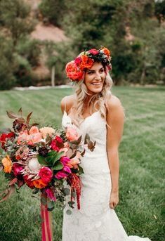 This bride gets all our heart eyes with these incredible pops of color in her bouquet and floral crown | Image by Shannon Lee Miller #bride #bridalfashion #bridalstyle #weddingdress #bridalbouquet #weddingbouquet #floralcrown #summerbridalstyle #springbridalstyle #bohemianwedding #floraldesign