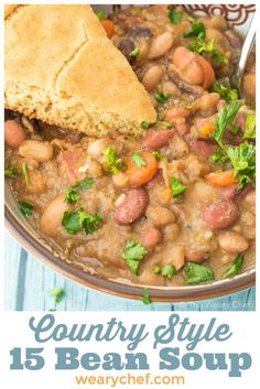This country style 15 bean soup with ham is a down home favorite dinner that you will love! It is filling, healthy, and delicious! 7 Beans Soup Recipe, Hearty Soup Recipes, Entree Recipes, Chili Recipes, Slow Cooker Recipes, Cooking Recipes, Healthy Recipes, Top Recipes, Crockpot Meals