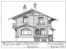 "an original drawing of chalet ""Georges-Maurice"" (1909) by architects Spring Frères, Fabrique de Chalets Suisses, Sécheron-Genève"
