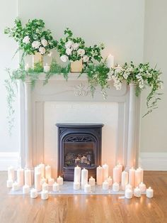 Ceremony idea using the fireplace and not the pipe and drape? Uses ferns...could we then relocate the floral arrangements to the tables in the sun room?