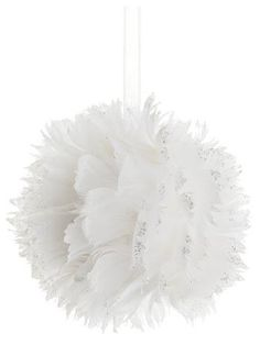 """5"""" Tell a Story White Feathered Christmas Ball Ornament with Silver Glitter Tips"""