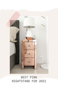 Take a look of the new nightstand trends for 2021 : pink nightstand. Pink Nightstands, Pink Furniture, Cool Furniture, Rose Gold Bedroom Accessories, Rose Gold Decor, Beautiful Bedrooms, Decorative Items, Bedroom Decor