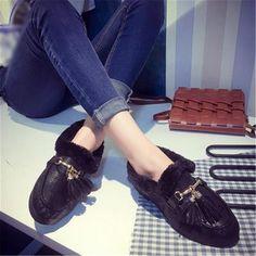 US $12.99 Fashion Fringe Tassels Warm Ballet Flats Loeafers for Women Women's Shoes