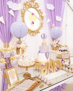 Purple & gold hot air balloon dessert table from a Hot Air Balloon Baby Shower on Kara's Party Ideas | KarasPartyIdeas.com (4)