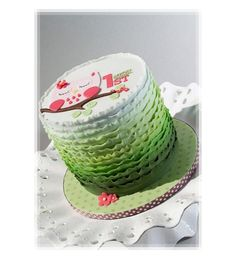 Green Ombre Ruffled 1st Birthday Cake