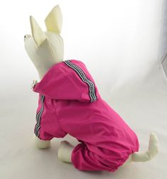 WaWa Safe Reflective Strips Small Dog Hooded Raincoat with Four Legs (Magenta, L) *** Additional details at the pin image, click it  (This is an amazon affiliate link. I may earn commission from it)