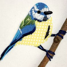 Embroidered Art - Blue Tit Mixed Media Decorative Wall Art | GiftWrappedandGorgeous.co.uk