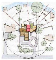 Site analysis with preliminary bubble diagram Bubble Diagram Architecture, Architecture Concept Drawings, Landscape Architecture Drawing, Architecture Graphics, Schematic Design, Diagram Design, Villa Architecture, Sustainable Architecture, Origami Architecture