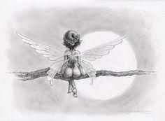 ' Clair de Lune ' fairy faery wings Branch moon cute ~A. Posca Art, Elves And Fairies, Art Graphique, Fairy Art, Magical Creatures, Faeries, Fantasy Art, Art Drawings, Illustration Art