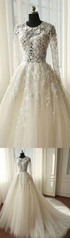 Charming Long Sleeves Tulle Applique Affordable Long Wedding Dresses, WG1246 #weddingdress #bridesdress