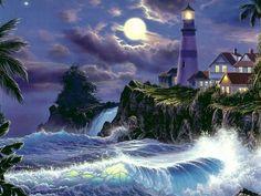 """""""Moonlit serenety"""" de Christian Riese Lassen, considerado el artista marino principal de nuestro tiempo."""