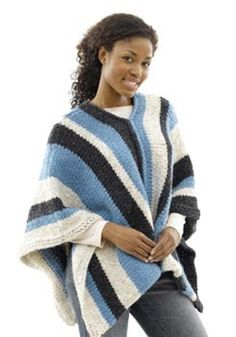 Vertical-Striped Poncho: Woman's Version in Lion Brand Wool-Ease Thick & Quick - 40493-2K. Discover more Patterns by Lion Brand at LoveKnitting. The world's largest range of knitting supplies - we stock patterns, yarn, needles and books from all of your favourite brands.