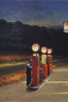 Gas by Edward Hopper (1940).  To me, this painting represents such loneliness. It's as if this man is alone in the world. Hopper could say so much with very little. He is a genius.