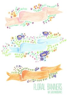 Sage & Berries freee floral banners illustration - free download! Cute!