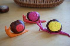 ślimaki z kasztanów i plasteliny snails with chestnuts and plasticine