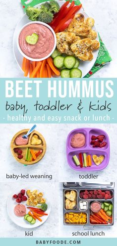 This Beet Hummus is a great snack or lunch option for baby toddler and kids! Filled with wholesome ingredients and a hidden veggie this fun pink dip will be a hit with your little ones! Good Healthy Recipes, Baby Food Recipes, Toddler Recipes, Easy Cooking, Cooking Recipes, Meal Recipes, Healthy Store Bought Snacks, Healthy School Lunches, School Snacks