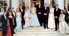 Pre-Wedding Ball - Marie-Chantal Miller and Prince Pavlos of Greece pose with extended Miller family and immediate members of the Greek royal family at the pre-wedding ball held at Wrotham Park.