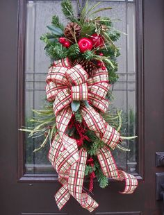 Christmas Swag Fruit Teardrop Williamsburg Style Country Christmas Wreath Plaid Sale    After Christmas sale in progress. Christmas sale on designer,