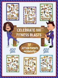 "GREAT FOR DISTANCE LEARNING OR IN-SCHOOL PHYSICAL/SOCIAL DISTANCING MOVEMENT- ALSO PERFECT FOR 100 DAYS OF SCHOOL CELEBRATIONS!!10 MOVEMENTS X 10 WORKOUTS = 100!!The ""Celebrate 100"" Fitness Blasts are a fun and active collection of workout cards, signs or posters that can easily be used by a physica... Flip Cards, Bingo Cards, Task Cards, High School Health, Animal Movement, Card Workout, Pe Activities, Pe Lessons, Mini Workouts"