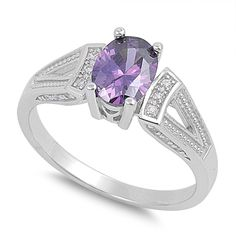 Oval Center Simulated Amethyst Cubic Zirconia Ring Sterling Silver 925 >>> Tried it! Love it! Click the image. : Jewelry Ring Statement
