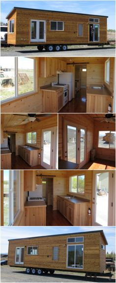 Rich's Portable Cabins Releases the 288 SF Ayn Model - One of our favorite builders is at it again with the Ayn, a lovely cedar tiny house ready to find a new home on a mountainside. Measuring 8 feet wide and 36 feet long, the home has 288 square feet inside plus a loft. The exterior of the Ayn sports the company's signature cedar lap siding with stained cedar trim.