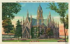 Assembly Hall in Temple Square, Salt Lake City (vintage postcard in our collection, @▲)