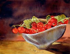 Redcurrants Fruit Original Still Life Watercolour Painting