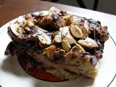 Cherry Chocolate Almond Bread Pudding