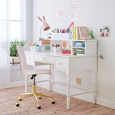 Shop Kids Class Act Pink and Gold Desk Chair. Here's a smart idea. Our leather desk chair has rolling wheels and a padded, adjustable seat that swivels 360 degrees. Teen Girl Desk, Desk For Girls Room, Big Girl Rooms, Girls White Desk, Desks For Girls, White Desk For Kids, White Desk For Teenage Girl, Desk For Teens, Desk Ideas For Teen Girls