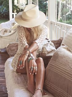 Sexy summery boho chic crochet tunic top with gypsy style layered bangles  bracelets, modern hippie hat  jewelry. For the BEST Bohemian fashion trends FOLLOW http://www.pinterest.com/happygolicky/the-best-boho-chic-fashion-bohemian-jewelry-gypsy-/