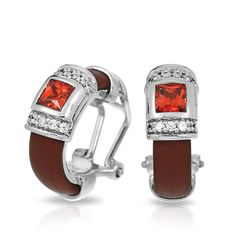 Celine Collection; Brown and Orange Earrings; Rich Italian rubber. Gleaming stones rest atop a luxurious dais of sterling silver, framed by pavé-set stones. Add a touch of grace and refinement to your look with this classic.